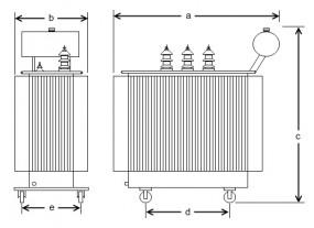 630 kVA, 20/10/0,4 kV +2 x 2 %, Dyn5, Ausdehner