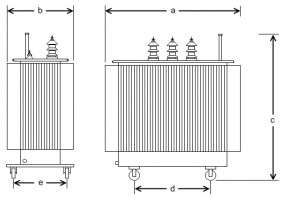 630 kVA, 21/0,42 kV +-2 x 2,5 %, Dyn5, Hermetik
